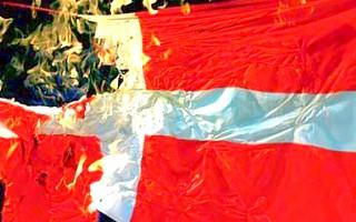 Muslims burning the flag of Denmark