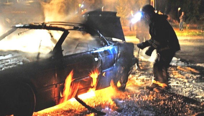 Burning car in Sweden